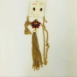Carisma Gold Red Tassel Long Necklace Earrings Set